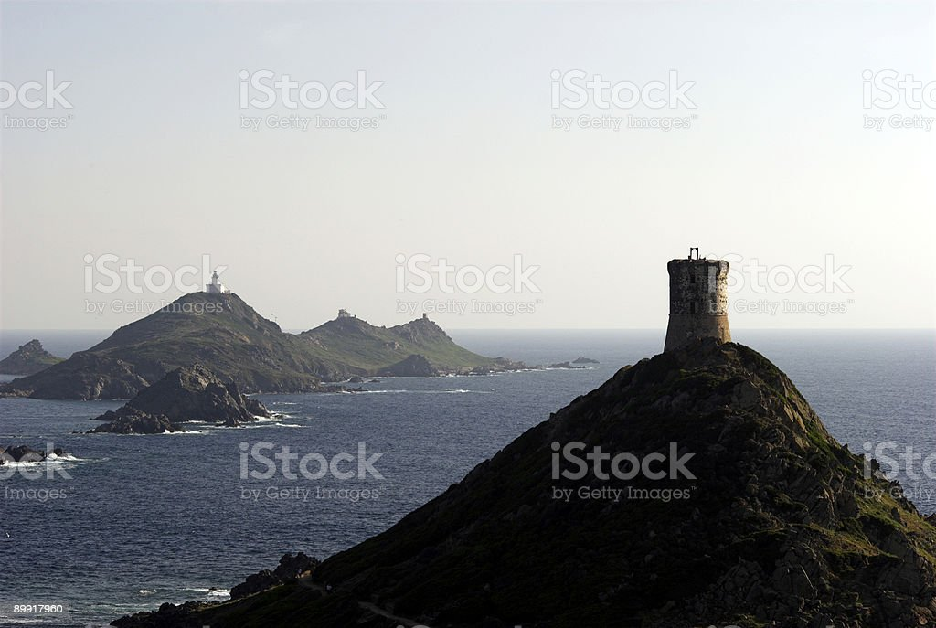 Sanguinaire Islands and Tower stock photo