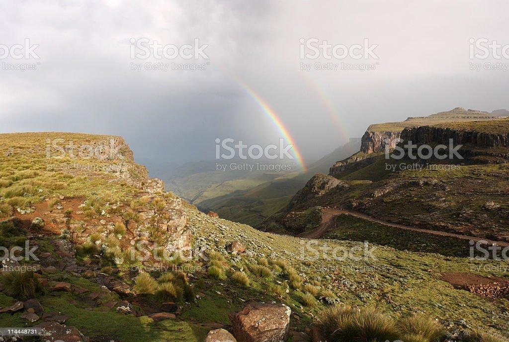 Sani pass with rainbow royalty-free stock photo