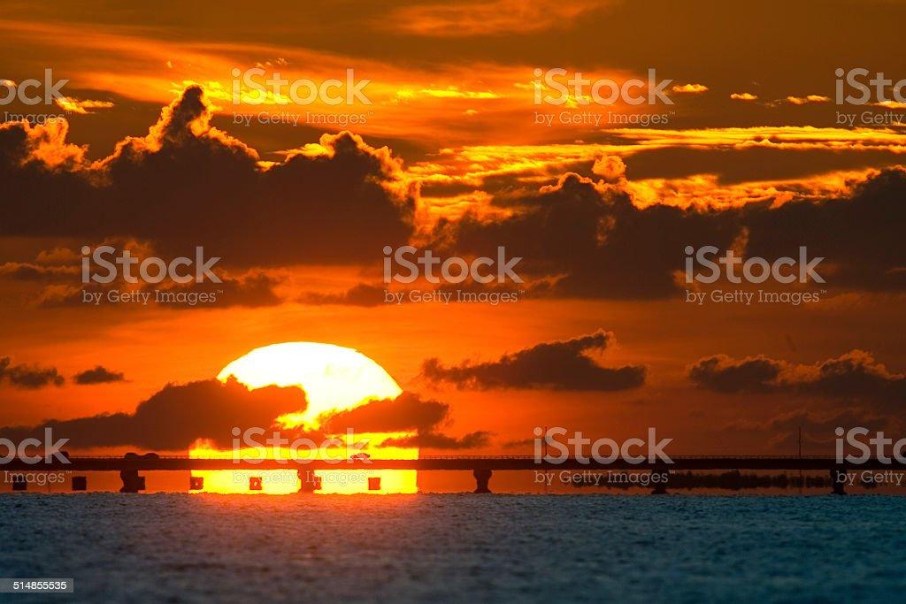 Sanibel Causeway Sunset stock photo