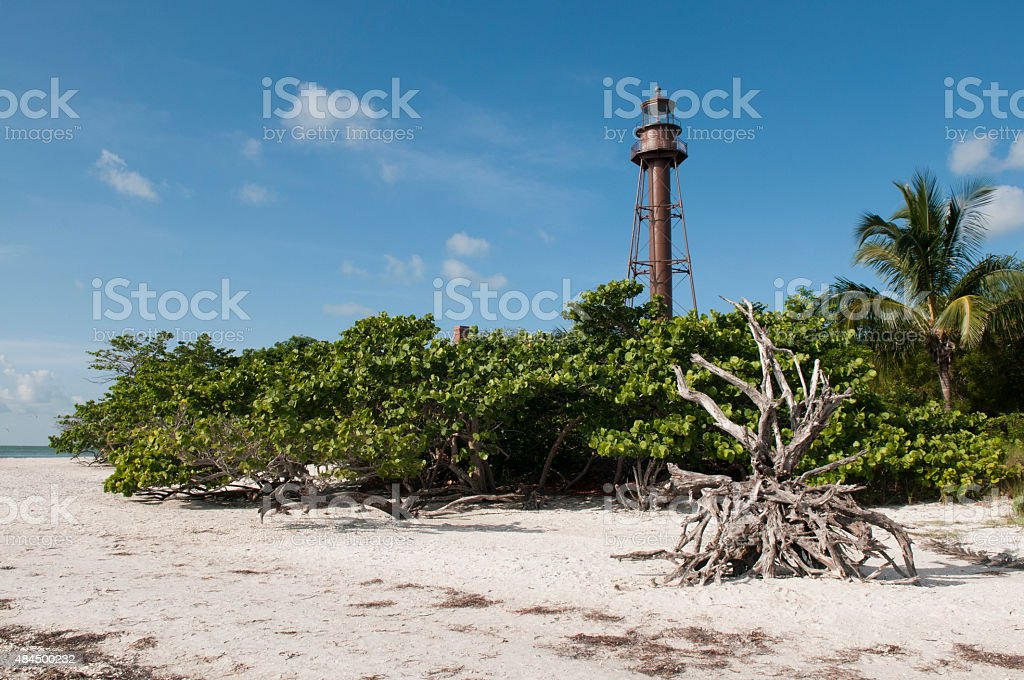 Sanibel Island Florida Lighthouse and Beach stock photo