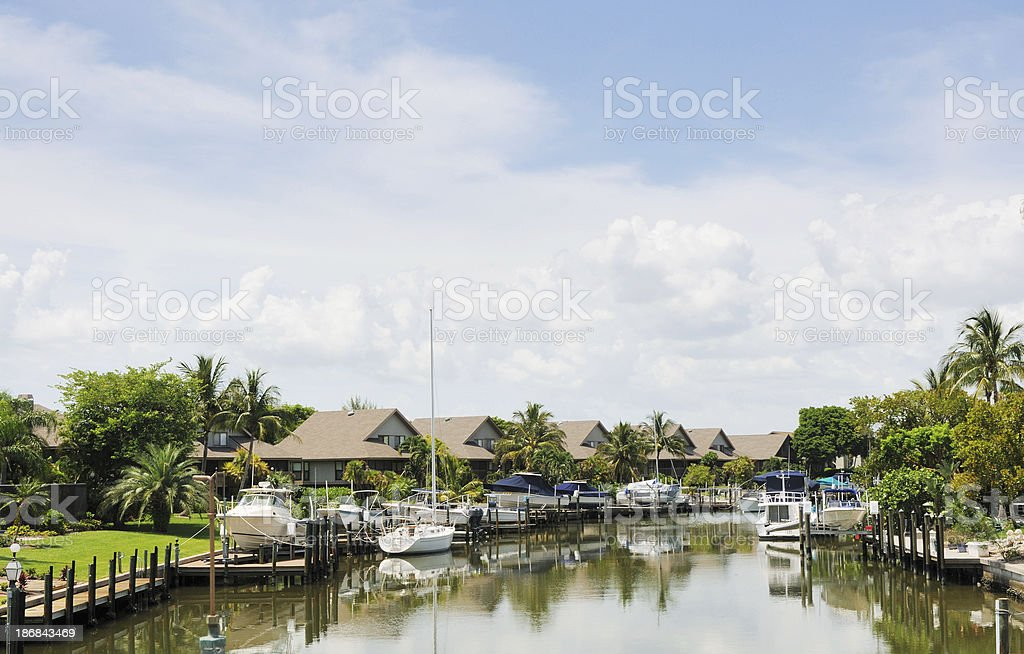 Sanibel Island Florida Marina Waterfront Home and Boats stock photo
