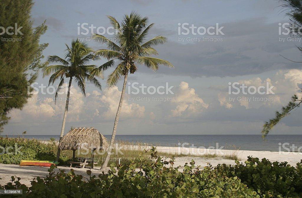Sanibel Island Florida - Palms and Hut stock photo
