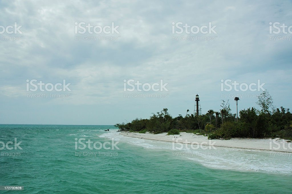 Sanibel Island Lighthouse with Storm Rolling In royalty-free stock photo