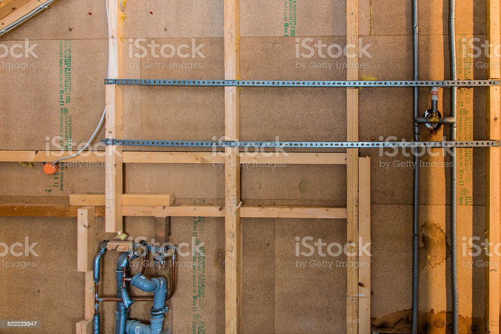 Sanitaerinstallation von hinten stock photo