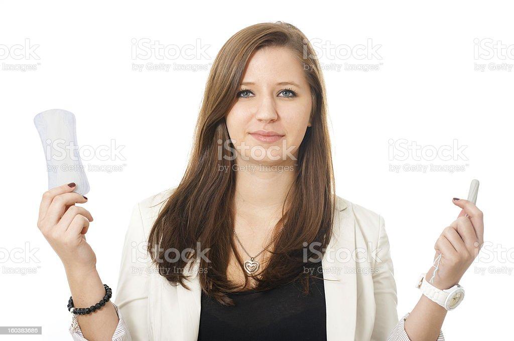Sanitary napkin or tampon stock photo