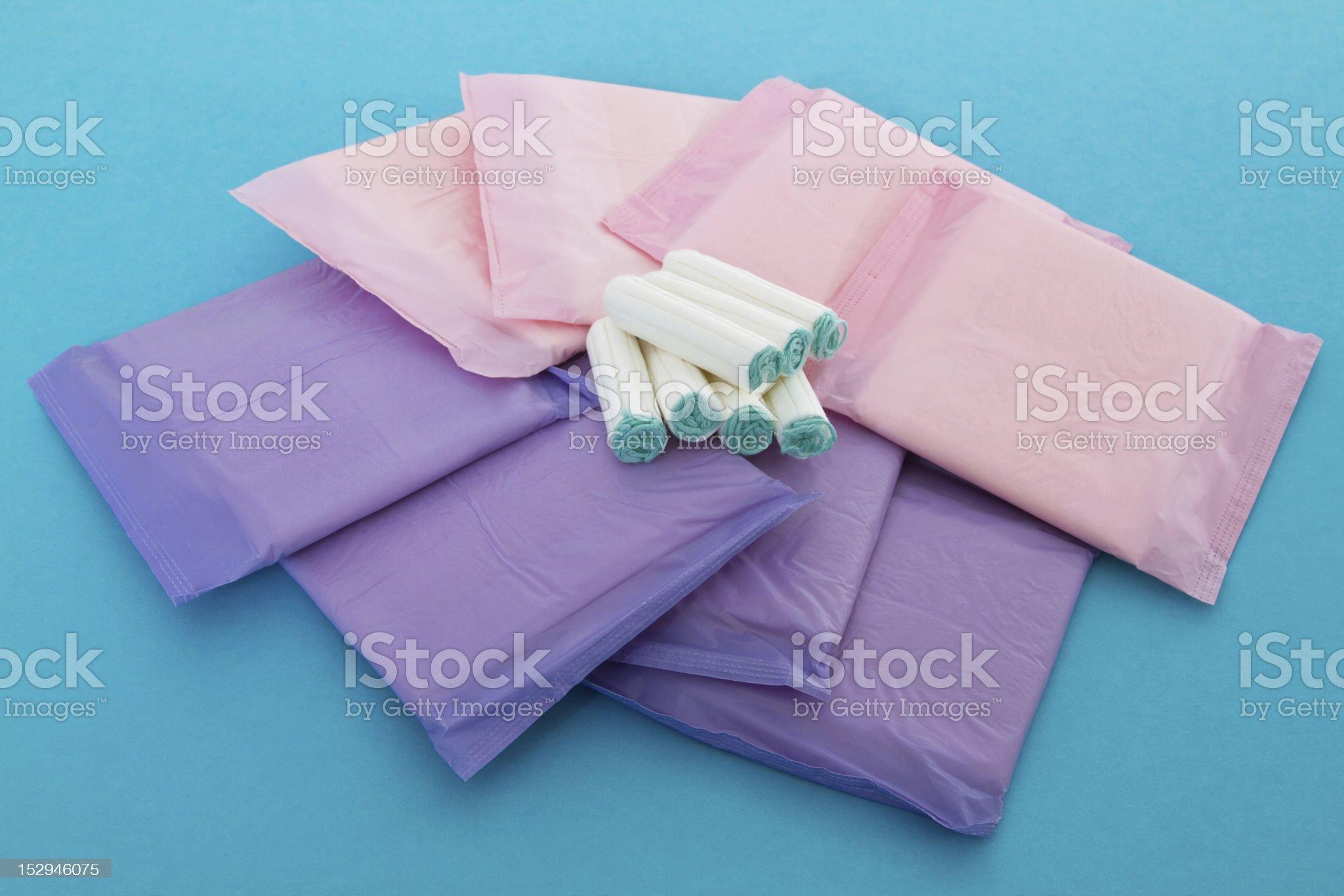 Sanitary napkins and tampons royalty-free stock photo