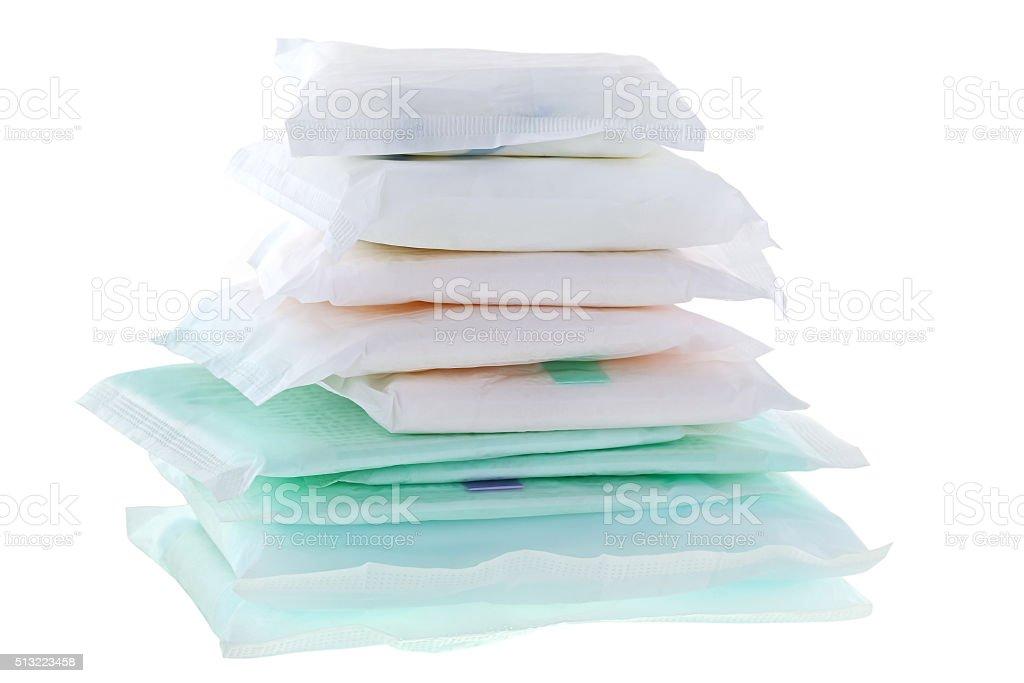 Sanitary napkins (sanitary towel, sanitary pad, menstrual pad) stock photo