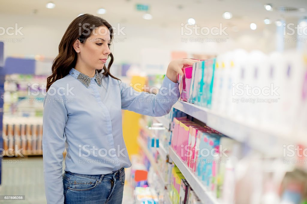 Sanitary pads versus tampons stock photo