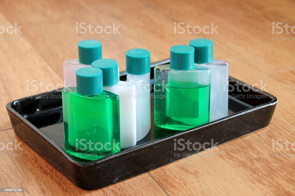 sanitary ware set tray in bathroom stock photo