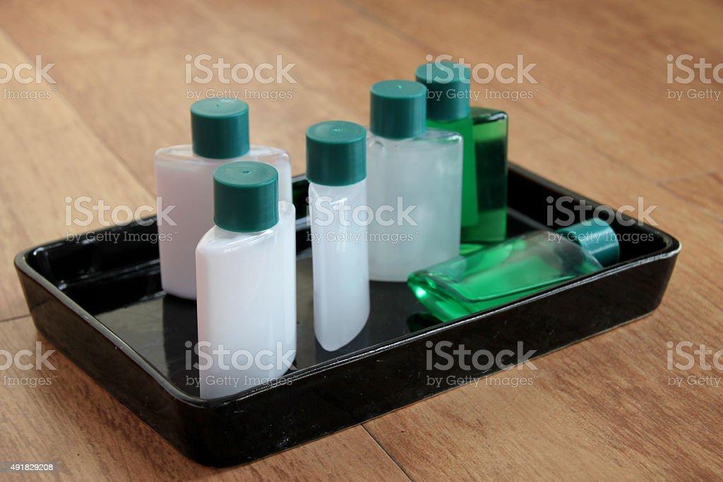 sanitary ware set tray stock photo