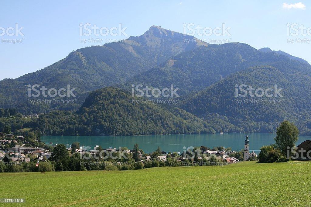 Sankt Gilgen village by the Wolfgangsee, Austria stock photo