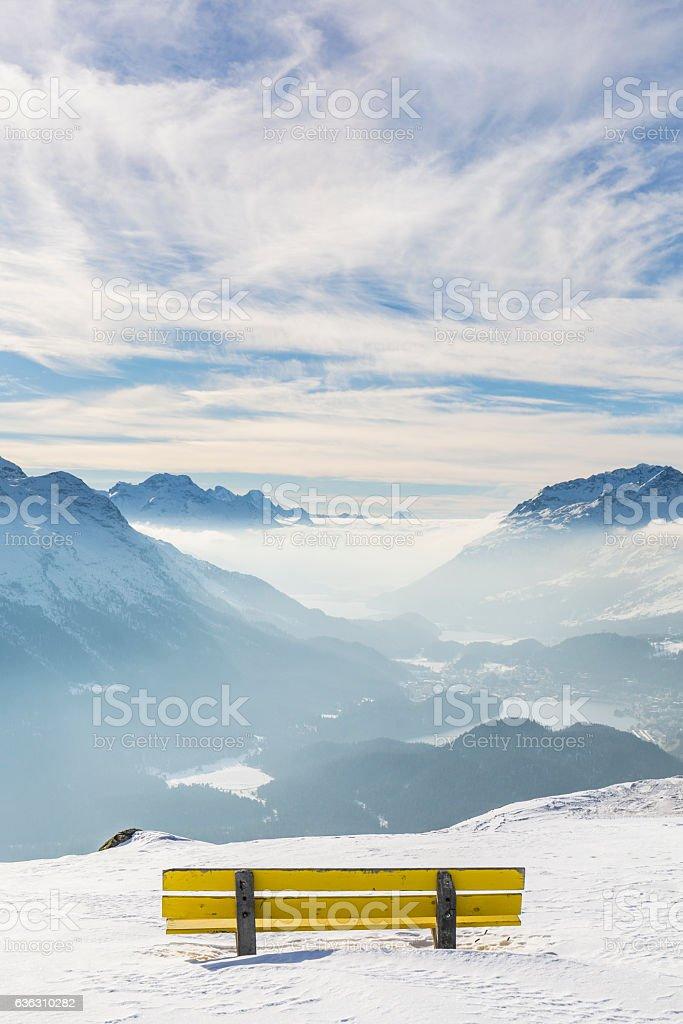 Sankt Moritz bench view, Canton Graubünden, Switzerland. stock photo