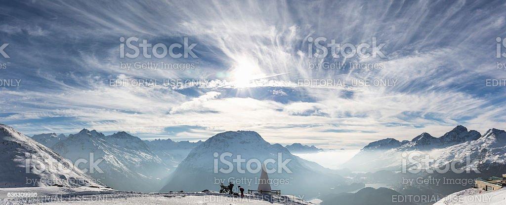 Sankt Moritz view, canton Graubünden, Switzerland. stock photo