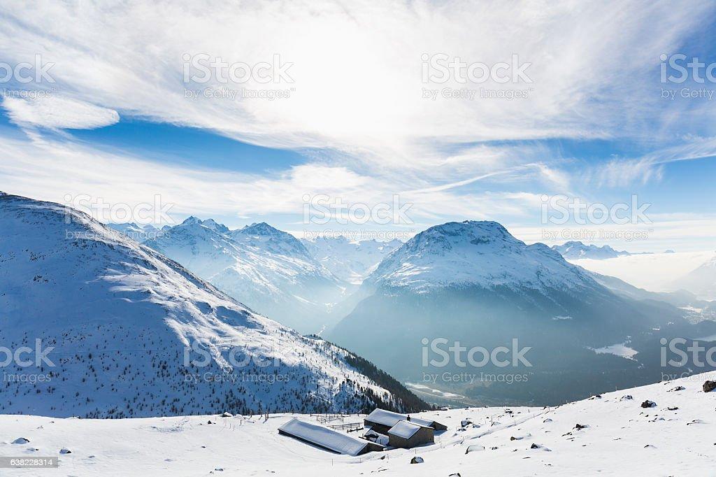 Sankt Moritz view, Canton Grigioni, Switzerland. stock photo