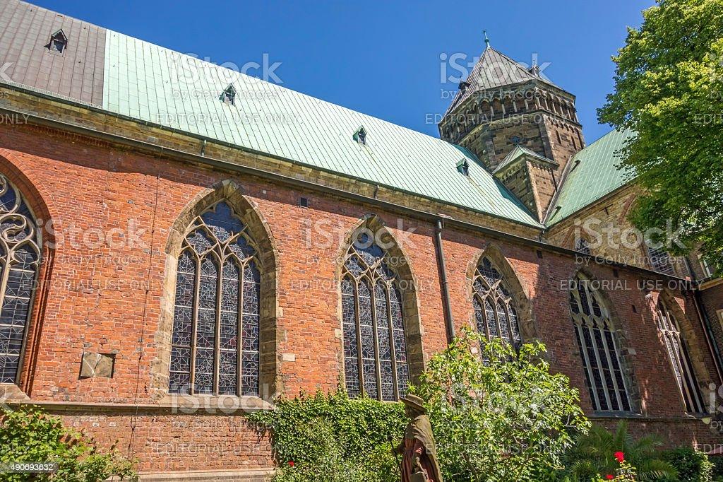 Sankt Petri Cathedral patio / garden, Bremen stock photo