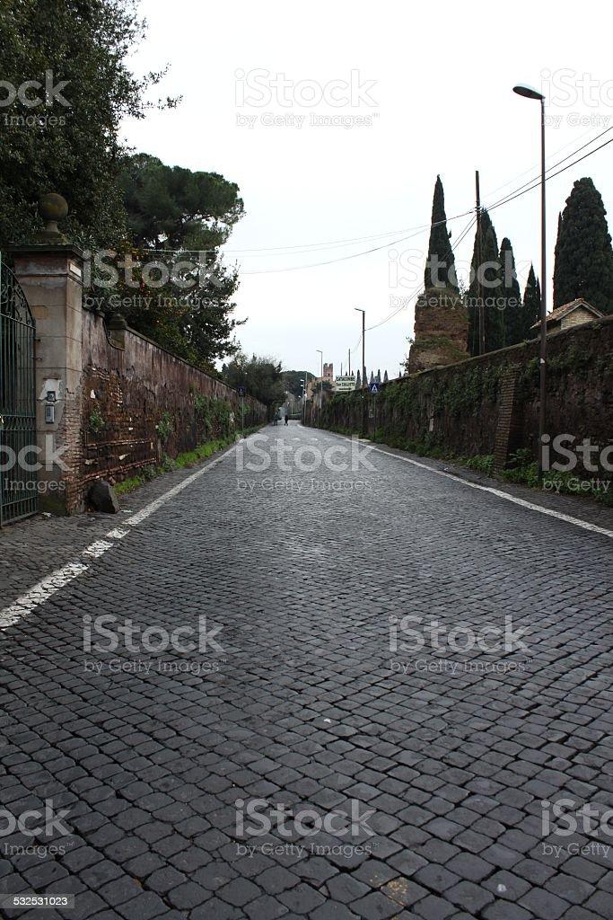Sanpietrini in Via Appia Antica, typical Rome pavement stock photo
