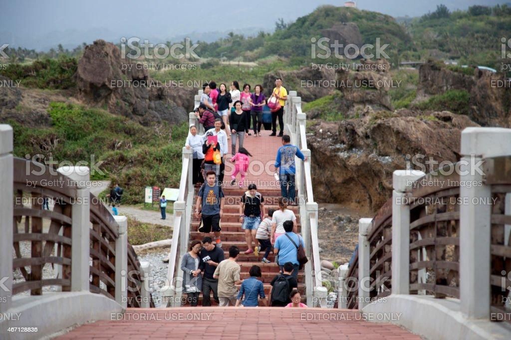 Sansiantai Dragon Bridge to Sanxiantai Island, Taitung, Taiwan stock photo