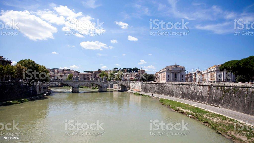 Sant Angelo Bridge of Rome stock photo