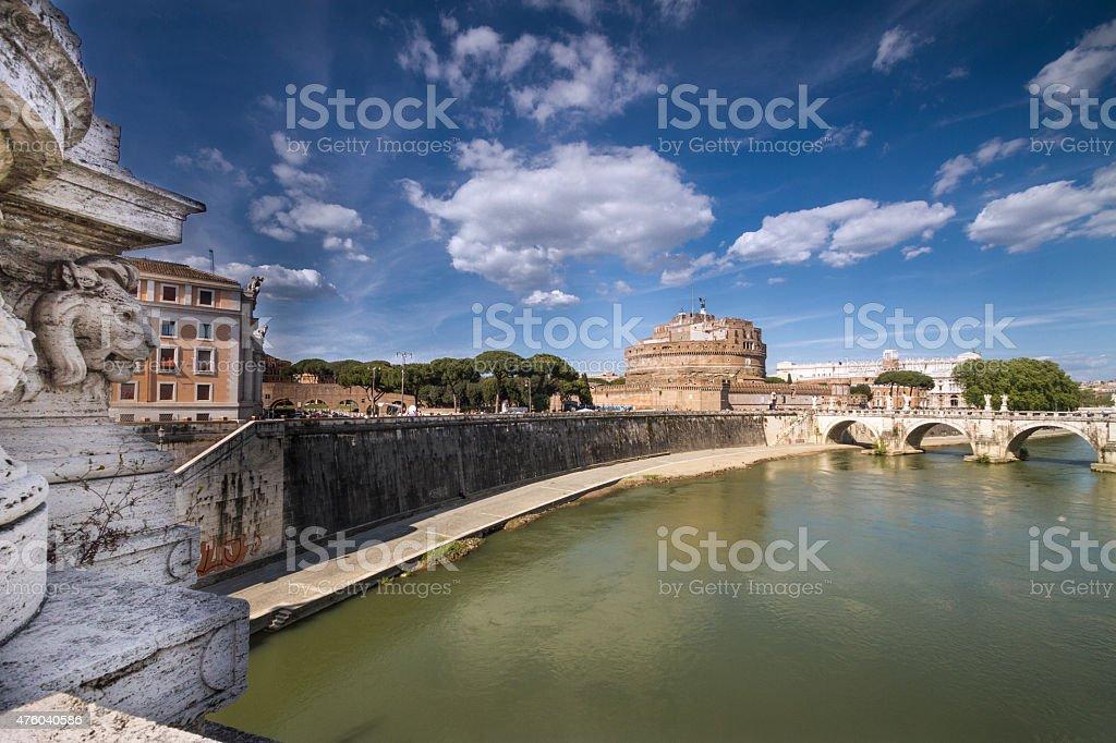 Sant Angelo Castle and Bridge in Rome, Italy stock photo