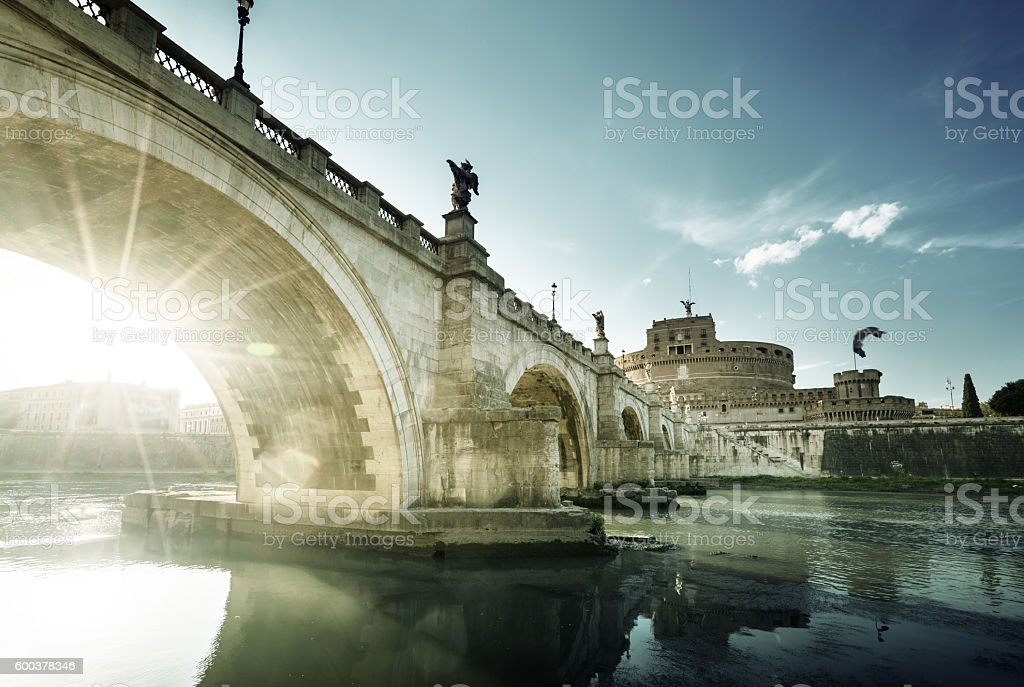 Sant Angelo Castle and Bridge in sunset time, Rome, Italia stock photo