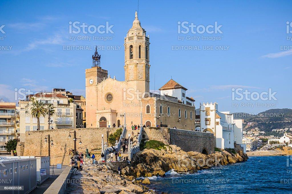 Sant Bartomeu Church in Sitges, Catalonia, Spain stock photo