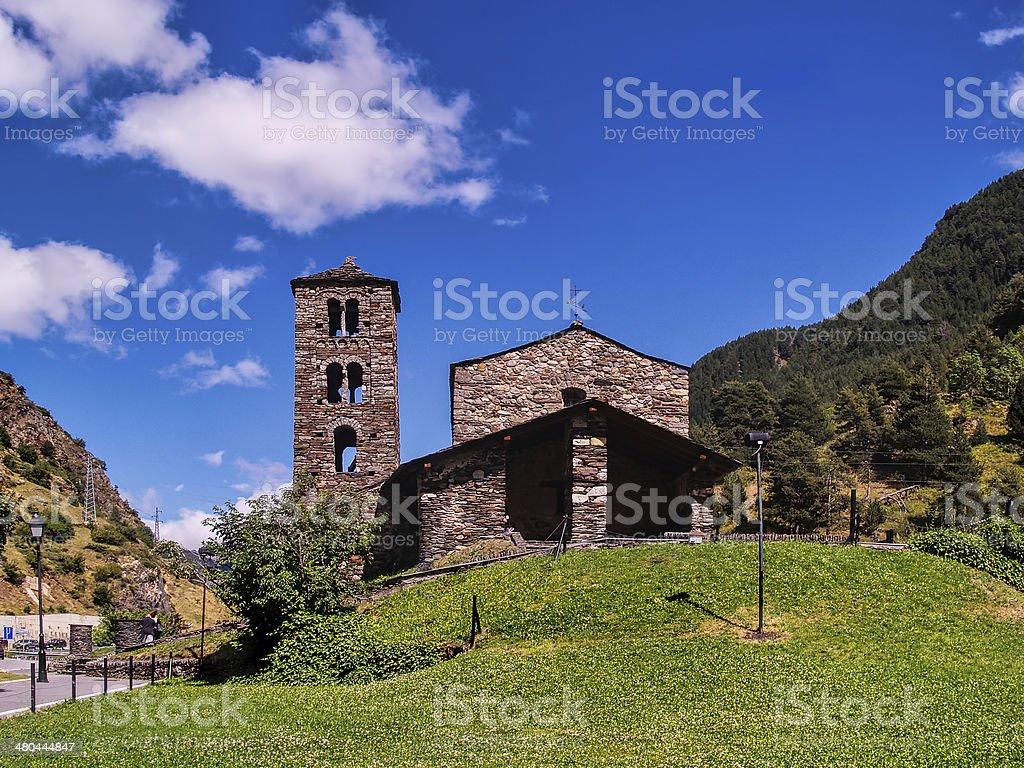 Sant Joan de Caselles (Andorra), romanesque church stock photo