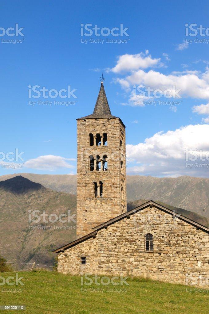 Sant Just and Sant Pastor Church  (XI-XII century)  Romanesque, Son de Pi, Pallars Sobira, Lleida prvince, Catalonia, Spain stock photo