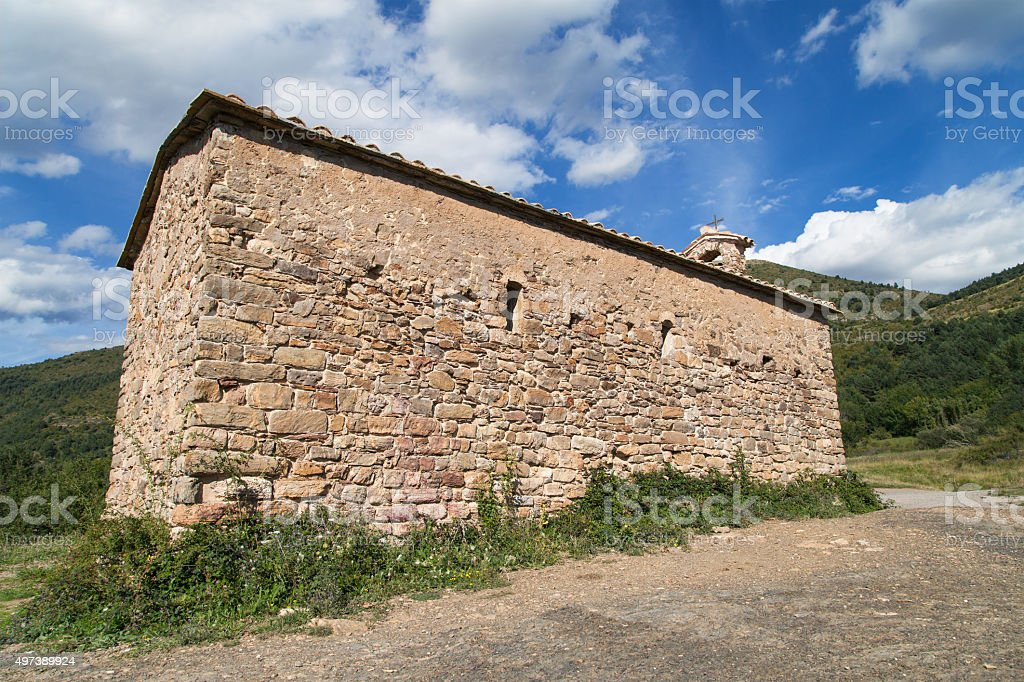 Sant Salvador church in Irgo stock photo