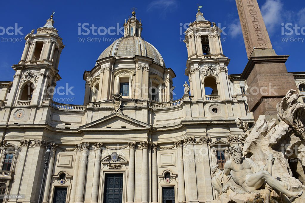 Santa Agnese in Agone with Fountain of Four River stock photo