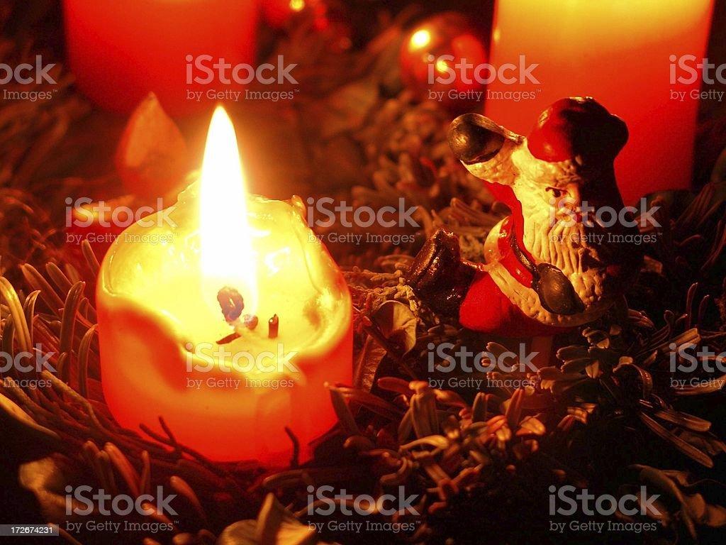 Santa and Candle royalty-free stock photo