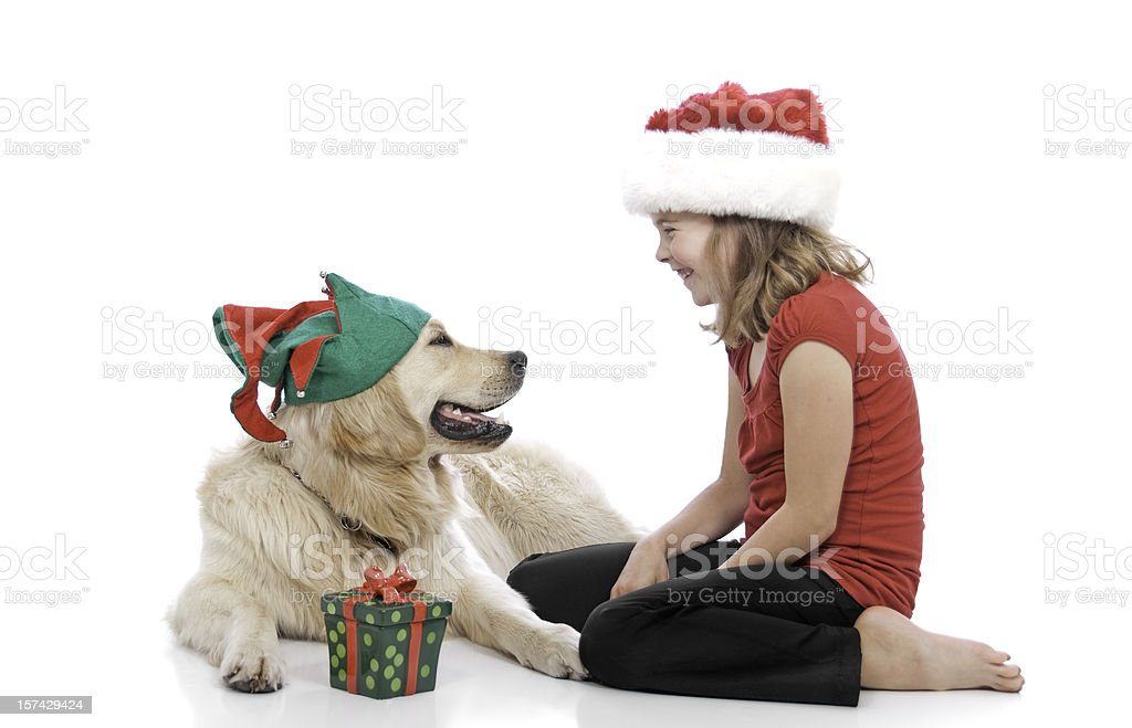 Santa and Her Elf royalty-free stock photo