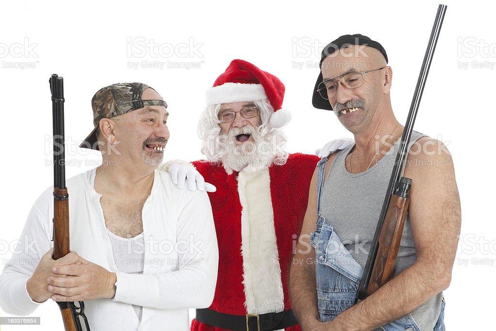 Santa and Hillbillies stock photo