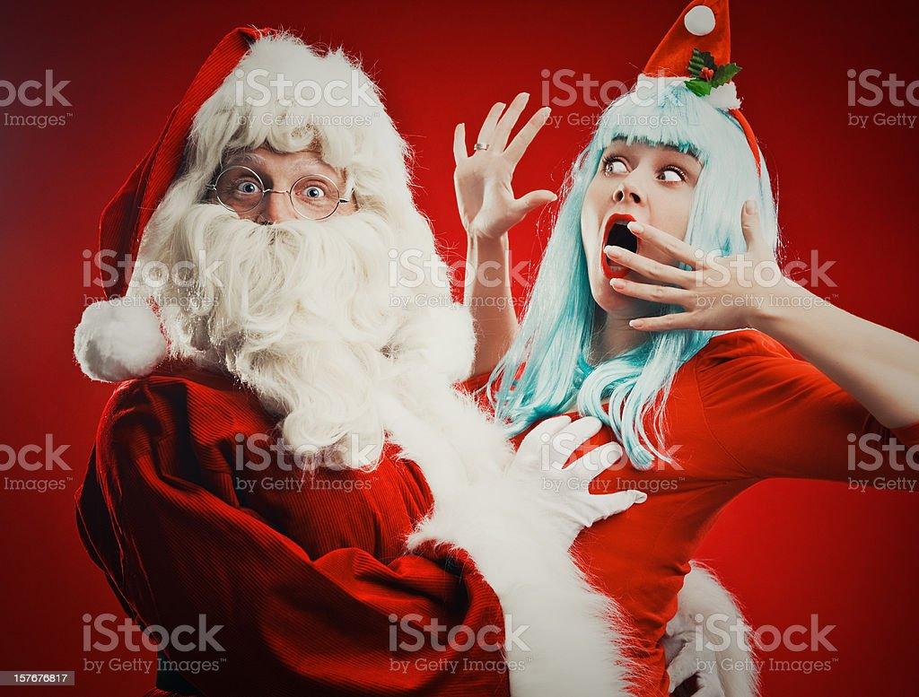 Santa and his helper royalty-free stock photo