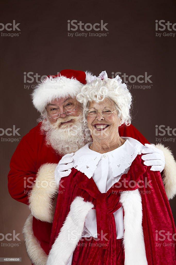 Santa and Mrs Claus portrait stock photo