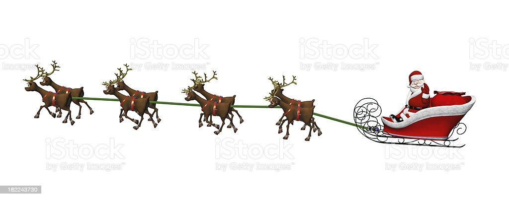 Santa And Reindeer On White stock photo