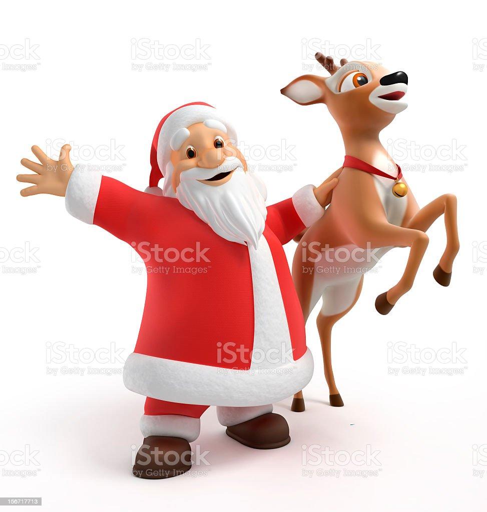 Santa and reindeer stock photo