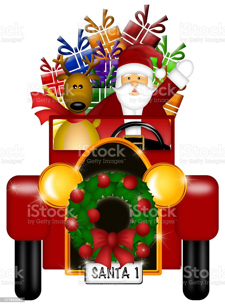 Santa and Reindeer Riding in Vintage Car Isolated royalty-free stock photo