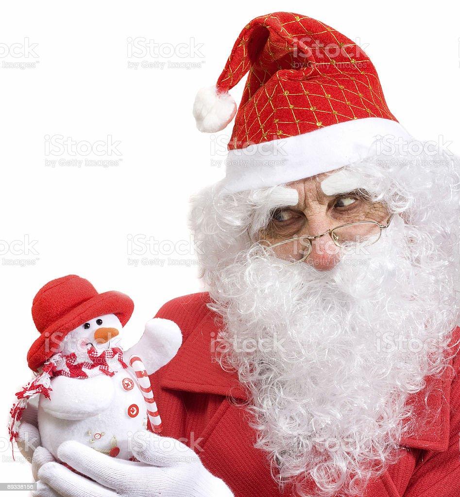 Santa and snowman royalty-free stock photo