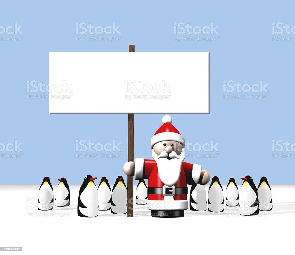 Santa and the Penguins royalty-free stock photo