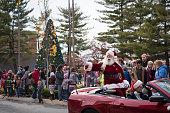 Santa at Christmas parade in Johnson City, Tennessee