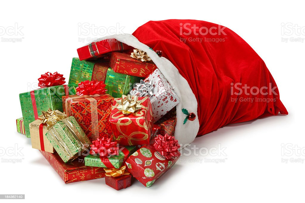 Santa bag full of Christmas presents stock photo
