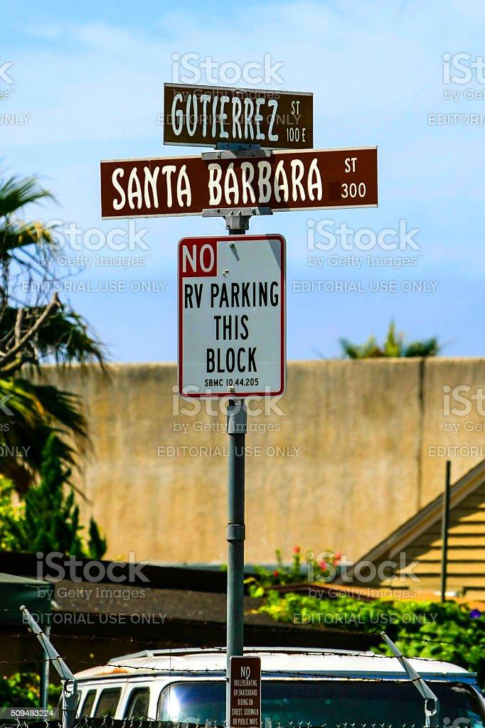 Santa Barbara and Gutierrez Street signs stock photo