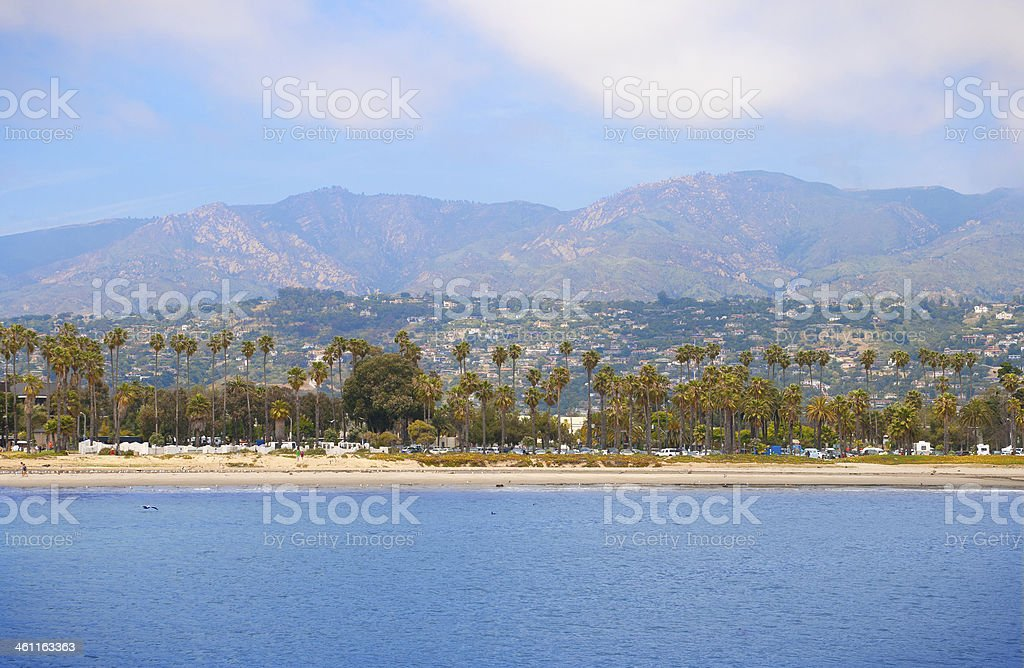 Santa Barbara beach and mountains stock photo