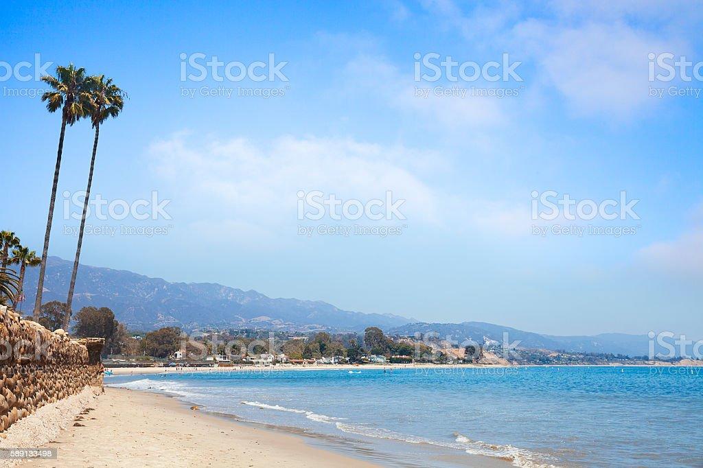Santa Barbara beach with palm trees. stock photo