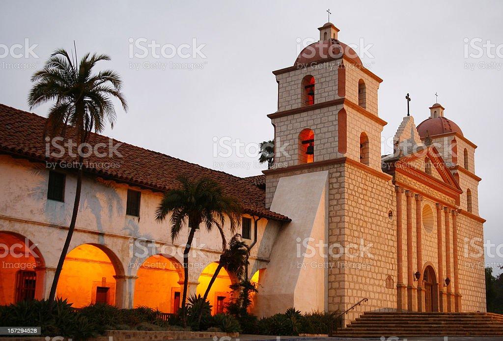 Santa Barbara CA: Mission in Dawn Light stock photo