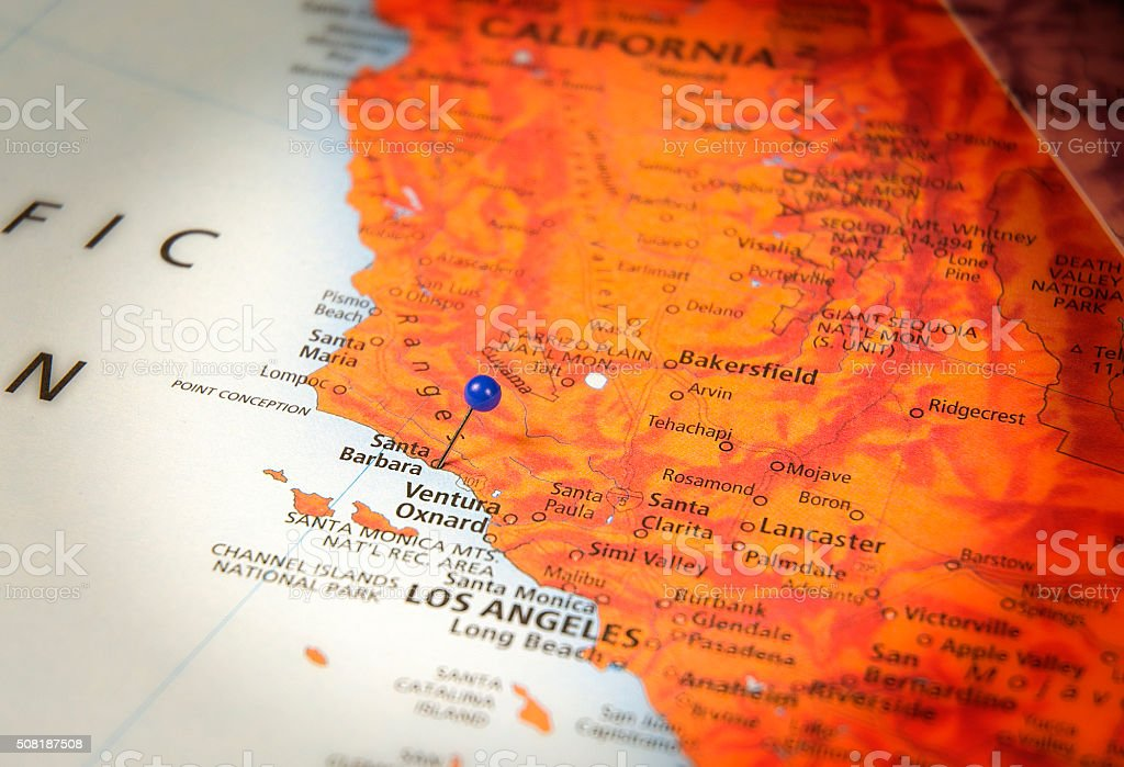 Santa Barbera California Travel Road Map Macro stock photo