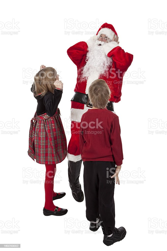Santa Being Yelled At By Bratty kids royalty-free stock photo