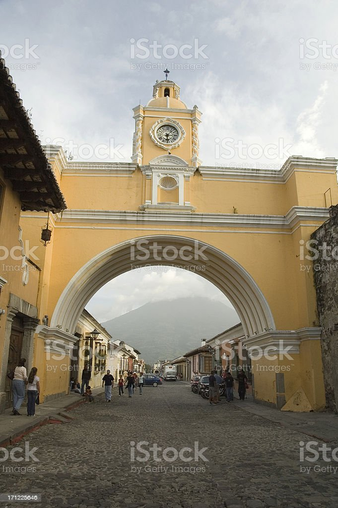 Santa Catalina arch and Aqua volcano royalty-free stock photo