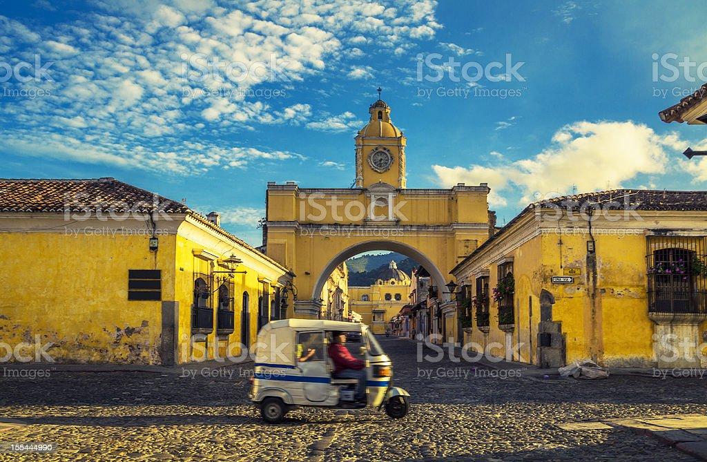 santa catalina arch in antigua downtown stock photo