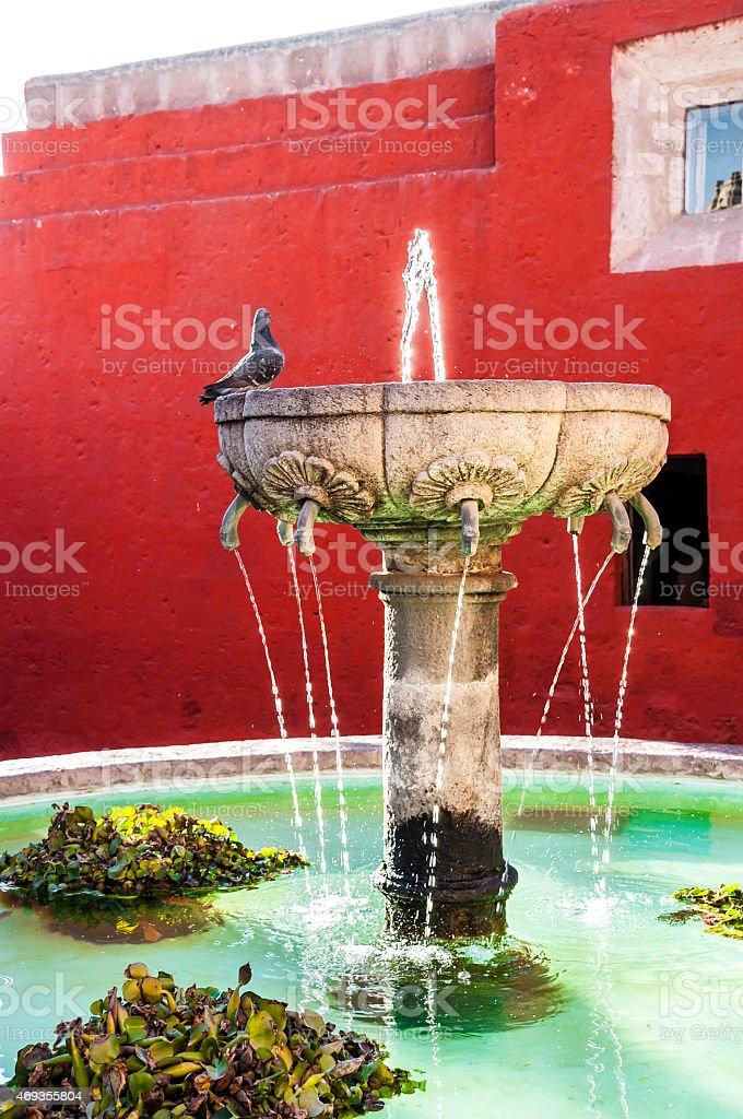 Santa Catalina fountain in Arequipa monastery stock photo